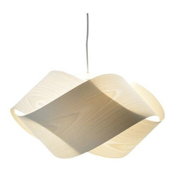 LZF - Nut Pendant by LZF - The LZF Nut Pendant uses the most minimal twist and turn of a ribbon of wood veneer creating an elegant, intertwined silhouette. The simplicity of the diffuser's design creates an airy appearance, while the overlapping woodgrain texture confers a pleasant warmth and glow. The Nut Pendant features a Natural timber wood veneer shade in a variey of colors and Nickel canopy.