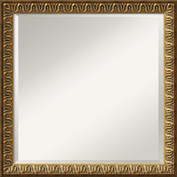 Amanti Art - 'Solare Wall Mirror - Square' 23 x 23-inch - A golden color with acid wash highlights, this frame is accented by a raised floral design and warm patina.