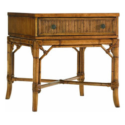 Lexington - Tommy Bahama Home Beach House Heron Lamp Table - The intricate leather-bound rattan detailing on the cross stretcher and receded drawer front give a sophisticated look. Finished on all four sides makes this piece ideal by a chair or sofa that extends into the room.