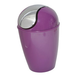 Pp Waste Basket 4.5-Liter/1.2-Gal -Dark Purple - This waste basket for bathrooms is made of shiny polypropylene and features a convenient chrome plated finish swing top lid. This versatile flaring shape waste basket brings style to your bathroom and fits easily in any bathroom or under any desk with its capacity of 4.5-Liter/1.2-Gal. Diameter of 8.27-Inch and height of 13.39-Inch. Clean with soapy water. Color shiny dark purple. Keep your bathroom clean in a trendy style with this attractive waste basket! Complete your decoration with other products of the same collection. Imported.