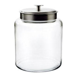 Anchor Hocking - 2gal Montana Jar w Alum Cover - Clear Glass 2 Gallon Montana Jar with Brushed Aluminum Metal Cover.