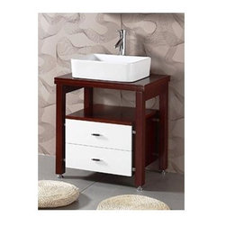 Legion Furniture - Solid Wood Single Sink Vanity in Dark Cherry Finish - Faucet not included. Measurement tolerance: (+/- 0.25 in.). Two drawers. Full extension drawer glide. Pre-drilled faucet hole. White ceramic sink. Metal leg leveler. Made from wood. Assembly required. 26.3 in. W x 18.9 in. D x 34 in. HIt has all the form and function of a quality piece to last for the years to come.
