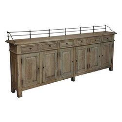 "Sarreid Ltd - Convent Garden Sideboard Finishes by Sarried, Ltd. - Long and lean, and not without eye-catching appeal. This impressive side board is crafted of solid walnut and finished in a grey wash to mimic driftwood. Three removable interior shelves are hidden behind the locking front doors. Each cabinet is topped with a small drawer. A brass gate-like upper border attractively frames the back and sides. This intriguing piece provides plenty of storage and serving space when your dining room is narrow. (SAR) 96"" wide x 12"" deep x 43"" high"