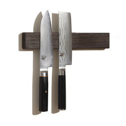 "M.O.C. Woodworks® - M.O.C. Board 12"" Wenge, Magnetic Knife Holder - Storage solutions are always welcome, especially if they save you valuable time and space. This handy tool, made from furniture grade hardwood, lets you hang knives, scissors, kitchen tools and other metallic objects on its trim, 12-inch long surface. For piece of mind, its hand-rubbed finish is nontoxic and food safe. (Available in cherry, maple, walnut, lacewood, wenge and zebra wood.)"