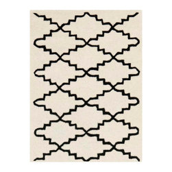 Safavieh - Blythe Hand Tufted Rug, Ivory / Black 2' X 3' - Construction Method: Hand Tufted. Country of Origin: India. Care Instructions: Vacuum Regularly To Prevent Dust And Crumbs From Settling Into The Roots Of The Fibers. Avoid Direct And Continuous Exposure To Sunlight. Use Rug Protectors Under The Legs Of Heavy Furniture To Avoid Flattening Piles. Do Not Pull Loose Ends; Clip Them With Scissors To Remove. Turn Carpet Occasionally To Equalize Wear. Remove Spills Immediately. A timeless quatrefoil motif makes a global design statement in the subtle but sophisticated Desai area rug. These stunning hand-tufted wool rugs are crafted in India to recreate the elegant look of hand-knotted carpets for today's lifestyle interiors.