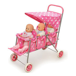 Badger Basket - Triple Doll Stroller - Pink with Polka Dots - Strolling... strolling... strolling! Take THREE favorite dolls for a walk together! Large canopy. Stylish polka-dot fabric. Adjustable footrest for the front seat. Comfortable, rubber grip on the handle. Dolls not included.