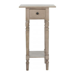 Safavieh - Hugo End Table - The dainty Hugo end table with its long shapely legs marries an easy farmhouse allure with just-right bedside manners. Large enough to hold essentials, like glasses, reading lamp and books, Hugo, in pine with vintage grey finish, doesn't need much space to shine.