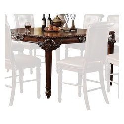 ACME - Acme Winfred Counter Height Table in Cherry - Winfred Counter Height Table by Acme Furniture bring the traditional style to your home decor. This table features rectangular in shape, tapered leg design and the ornate carvings around the corners and apron. This table offers a one by 18 inch leaves for maximum capacity.