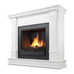 Real Flame - Silverton Ventless Gel Fireplace in White - Uses clean burning Real Flame gel fuel emitting up to 9,000 BTUs of heat per hour lasting up to 3 hours.. Solid wood and veneered MDF construction.. Fireplace includes wooden mantel, firebox, hand painted cast-concrete log, and screen kit.. Uses Real Flame 13 oz. gel fuel, not included.. Assembly Required. 48 in. W x 13 in. D x 41 in. H (91 lbs.)Curl up by the comforting glow of this Real Flame fireplace anywhere in your home. Ideal for living rooms, family rooms or bedrooms, the free-standing Silverton offers clean lines and transitional styling that will add instant ambiance to any home.  Uses 13 oz. cans of Real Flame Gel Fuel.