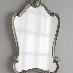 """Horchow - Walton Hall Mirror - Uniquely shaped mirror features decorative fleur-de-lis details on its heavily distressed frame. Frame is wood composite. Hand-painted antiqued-white finish with charcoal undertones and a light gray glaze. D-rings on back for hanging. 22""""W x 2""""D x 3..."""