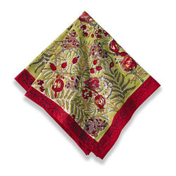 Origin Crafts - Winter garden wreath napkins, set of 6 (red/green) - Winter Garden Wreath Napkins, Set of 6 (Red/Green) The Winter Garden Wreath collection?s luxurious colors adorn a table with plenty and extravagance. Its sumptuous table linens, runners and napkins are perfect for the holidays and special occasions. Fine French table linens, hand-printed. Designed by Bruno Lamy exclusively for Couleur Nature. Suitable for everyday use. Easy care, machine washable, color fast. 100% cotton. Dimensions (in):19x19 By Couleur Nature - Couleur Nature is a wholesaler of fine, French-inspired Indian woodblock-printed and vintage linens. Couleur Nature?s linens and home accessories are versatile and can be used for formal or casual table settings year-round, as well as the every day. Their distinct but wide appeal makes them ideal for almost any occasion, decor or personal style. Usually ships in three business days. Our linens are handmade: slight variations are natural and make each piece unique.