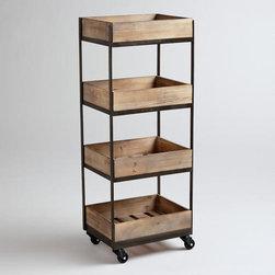 4-Shelf Wooden Gavin Rolling Cart -