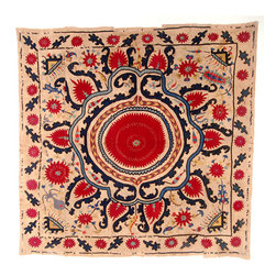 Sarajo - Center Medallion Suzani - Don't let your home go without any Suzani this season. This embroidered tribal pattern makes any space burst with energy and love.