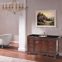 """Stufurhome - Princeton Single Sink Bathroom Vanity with Black Galaxy Granite Top - Alluring antique styling is immediately evident in the 56"""" Princeton Single Bathroom Vanity, featuring a smooth Baltic Brown Granite top. An eye-catching cherry wood finish is highlighted beautifully with raised organic scrollwork on the bottom apron and top trim. Six subtle convex drawers, with ornate metal knobs, offer an immense amount of storage space to house your every necessity."""