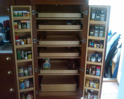 Cabinet Pantry Pull Out Shelves - Create the maximum visibility and accessibility in your cabinet pantries with custom pull out shelves from  ShelfGenie of Massachusetts, designed to fit your existing space.