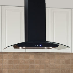 """Casa Series 36"""" Stainless Steel Black Island Range Hood - 600 CFM - The Casa Series 36"""" Black Island Range Hood is made for use above your kitchen island stovetop. With its graceful arch, glass accent, and Black Powder Coat finish this range hood will complement many styles of kitchens."""