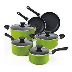 Cook N Home - Cook N Home 10-Piece Nonstick Coating Cookware Set, Green,  NC-00398 - Color: Green | Size: 10 Piece