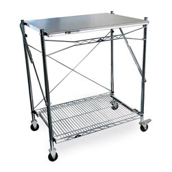 Metro Shelving - Folding Work Table with Stainless Steel Top - Versatile work table can be used at home or on the job to store or hold items. Stainless steel top cleans easily and the casters give it mobility. Workspace measures 24 inches by 30 inches. When you're done it folds flat!