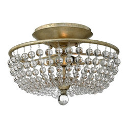 Fredrick Ramond - Fredrick Ramond FR43751SLF Caspia Transitional Semi Flush Mount Ceiling Light - This chic classic crystal design in a luxurious Silver Leaf finish features strands of whimsical crystals in graduating sizes.