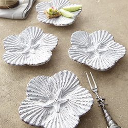 "Horchow - Embossed Shell Tidbit Set - Turn any event into a beach party with these charming shell-shaped tidbit plates. Made of ceramic and metal. Hand wash. Set includes four 5.5"" x 5"" plates and one 5""L cocktail fork. Imported."