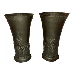 Nouveau Vases - Sweet and simple design, the pattern wraps around the whole vase.  They do show some wear, but by no means does this take away from these pieces.  In fact the patina really shows of the design.  They are water tight so perfect for flowers.