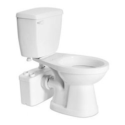 Saniflo - Saniflo 017-007-005 Two Piece Elongated Bowl Toilet with Macerating Pump White - The Sanitop is a system that is used to install a complete bathroom up to 12 feet below the sewer line, or even up to 120 feet away from a soil stack. It can handle the effluent from a toilet and sink.A normal operating cycle for Sanitop takes about 7-9 seconds depending upon the discharge pipe run configuration; power consumption is therefore minimal.A non-return valve, which comes already assembled on the discharge elbow, prevents back flow into the unit.The design of this model consists of vibration absorbers which enable the reduction of operating sound by reducing the transmitted sounds from any location where such resonance transmission could occur. This new design reduces the operating sound of this pump by 10dB.The Sanitop is simplicity itself to install; there are just four connections.- The macerator/pump is connected to the spigot of a horizontal rear discharge toilet.- The toilet tank is connected to the water supply.- The macerator/pump is connected to the small diameter discharge pipe work.- The macerator/pump is connected to the electrical supply.The Sanitop has been certified to American and Canadian Standards.