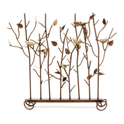 """Achla - Wrought Iron Firescreen w in Roman Bronze Fin - When the weather calls for air conditioning this """"summer"""" fireplace screen is a beautiful addition to your hearth.  Branches with a scattering of leaves create a place for songbirds to rest.  The solid steel frame has a Roman bronze finish and gold accents. * Wrought iron construction. Roman bronze finish accented with golden finishes26 in. W x 26 in. H"""