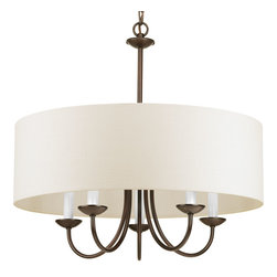 Progress Lighting - Progress Lighting P4217-20 Five-Light Chain Hung Fixture Off-White Linen Fabric - Five-light Chain Hung Fixture. Coordinate with a variety of collections including Inspire, Gather and Heart.