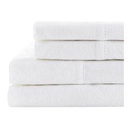 Melange Home - Linen Cotton Prewashed Hemstitch Sheet Set, White, Queen - Details: