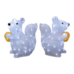 """3D Acrylic Squirrel with Nut Motif - This little buddy has an accomplice to purchase with him. Get him along with this sitting squirrel to light up your yard this Christmas. Additional Information: Dimensions: 12.6"""" length, 7"""" width, and 12.6"""" tall 120v/24v out-door rated transformer that includes 9 feet of power cord. Meant for use outside. Listing is for one squirrel."""