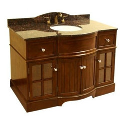 Legion Furniture - Single Sink Vanity w Frosted Glass Door Panels - Includes vanity and granite top. Faucet not included. Dark tan brown granite top. Four doors. Two drawers. Interchangeable wood and frosted glass door panels. Adjustable interior shelves. Curved front edge. Pre-drilled 8 in. c.c. faucet hole. cUPC certified white porcelain undermount sink. 4 in. backsplash. Measurement tolerance:(+/- 0.25 in.). Made from solid poplar, veneered plywood and MDF. Light walnut finish. Minimal assembly required. Top: 49 in. W x 22 in. D x 0.75 in. H. Vanity: 48 in. W x 21.5 in. D x 34 in. H