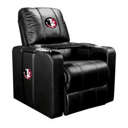 Dreamseat Inc. - Florida State University NCAA Home Theater Plus Leather Recliner - Check out this awesome Leather Recliner. Quite simply, it's one of the coolest things we've ever seen. This is unbelievably comfortable - once you're in it, you won't want to get up. Features a zip-in-zip-out logo panel embroidered with 70,000 stitches. Converts from a solid color to custom-logo furniture in seconds - perfect for a shared or multi-purpose room. Root for several teams? Simply swap the panels out when the seasons change. This is a true statement piece that is perfect for your Man Cave, Game Room, basement or garage. It combines contemporary design with the ultimate comfort from a fully reclining frame with lumbar and full leg support.