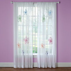 None - What a Frill 63-inch Applique Sheer Curtain Panel - Perfect for a child's bedroom or play area,the What a Frill curtain panel adds a light and airy feel to any space. The gauzy white fabric provides the perfect background for playful chenille flowers in shades of pink,blue,green,orange and purple.