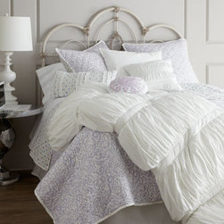 "Horchow - Queen White Comforter, 92"" x 96"" - Sweet and sophisticated all at once, ""Morning Dove"" bed linens beckon you to relax in a field of lavender and white. Imported. Ruched and embroidered white comforters are cotton with a polyester fill. Quilts are cotton with a cotton fill and revers..."