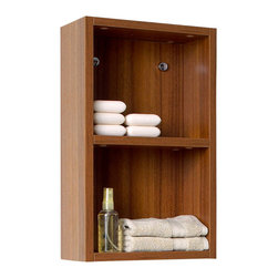 Fresca - Fresca Teak Bathroom Linen Side Cabinet w/ 2 Open Storage Areas - This small side cabinet comes with a Teak finish.  It features 2 open storage areas.