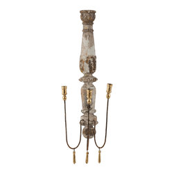 Kathy Kuo Home - Pair French Country Chateau Pinot 3 Taper Candle Wall Sconce - The Chateau Pinot Wall Candelabra is the perfect found object. With 3 arms, it can be used as a candle holder or a simple architectural object for the wall.  Price marked is for a pair.