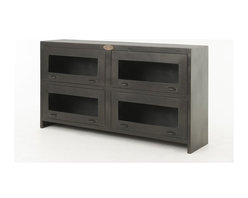 Four Hands - Rockwell Media Cabinet - The sleek, industrial look of this cabinet is a great place to store your DVR, remote controls and all the other electronic equipment that doesn't belong on display. The upcycled materials found in factories and warehouses take on a new and sophisticated life when they are used in the home. It's the perfect bit of edge that complements many modern styles.