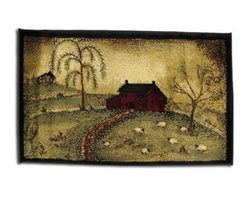 `Good Life` Scenic Country Farm Throw Rug 20 X 30 In. - This scenic country farm throw rug adds a lovely accent to any room in your home. It is made of polypropylene pile, with jute and polyester edges, and it measures 20 inches wide by 30 inches long. This rug is stain resistant and colorfast, and it is recommended to spot clean only.