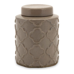 Imax - Essentials Small Atmosphere Canister with Lid Terracotta Glaze Decor - Essentials small atmosphere canister with lid terracotta glaze living, dining and family room home accent decor