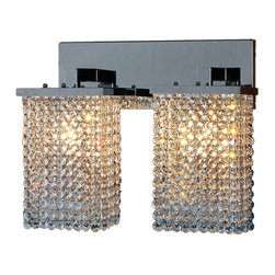 """Worldwide Lighting - Prism 2 Light Chrome Finish Crystal String Wall Sconce Light 15"""" W Large - This stunning 2-light wall sconce only uses the best quality material and workmanship ensuring a beautiful heirloom quality piece. Featuring a radiant chrome finish and finely cut premium grade crystals with a lead content of 30%, this elegant wall sconce will give any room sparkle and glamour. Worldwide Lighting Corporation is a privately owned manufacturer of high quality crystal chandeliers, pendants, surface mounts, sconces and custom decorative lighting products for the residential, hospitality and commercial building markets. Our high quality crystals meet all standards of perfection, possessing lead oxide of 30% that is above industry standards and can be seen in prestigious homes, hotels, restaurants, casinos, and churches across the country. Our mission is to enhance your lighting needs with exceptional quality fixtures at a reasonable price."""