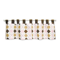 Trend Lab Baby - Trend Lab Prep School Pink Window Valance - 106407 - Shop for Window Treatments from Hayneedle.com! Frame your little girl's nursery window with the sweet Trend Lab Prep School Pink Window Valance. This charming design pairs classic argyle in pink chocolate caramel and white with solid brown accents. It measures 53 inches long by 15 inches wide. Crafted from soft 100% cotton with polyester ultra-suede trim this valance is easy to care for and maintain. Simply machine wash cold using the gentle cycle occasionally and either tumble dry low or line dry. Do not bleach or dry clean. A full range of Prep School bedding and accessories is available for purchase separately to create a cohesive and stylish look in your child's bedroom.About Trend LabBegun in 2001 in Minnesota Trend Lab is a privately held company proudly owned by women. Rapid growth in the past five years has put Trend Lab products on the shelves of major retailers and the company continues to develop thoroughly tested high-quality baby and children's bedding decor and other items. With mature professionals at the helm of this business Trend Lab continues to inspire and provide its customers with stylish products for little ones. From bedding to cribs and everything in between Trend Lab is the right choice for your children.