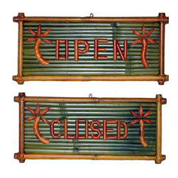 Bamboo54 - Small Bamboo Open/Close Sign with Bamboo Lett - These natural bamboo signs will add a tropical look and feel to your patio. Accent your tropical theme with a sign that says it all. The very thought of bamboo conjures up images of exotic tropical scenes. Create your own home tropical paradise with these attractive signs. Let these delightful signs add charm to your garden, patio, or bar. Bamboo sign. OPEN on one side, CLOSED on the other, with palm tree. Sold in pairs only. 20 in. L x 10 in. H