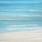 Ocean Artwork - Caribbean Beach - Tropical coastline seascape painting print by Francine Bradette