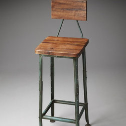 Butler - Metalworks Bar Stool with Wooden Seat and Back - Designed in a rustic style this Bar Stool comes with the distressed metal base and aged wood seat and back. Select products and antique decorative elements make it suitable for any country house.
