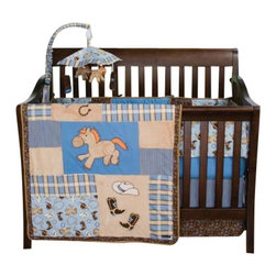 Trend Lab - Cowboy Baby Crib Bedding Set - Your Cowboy Baby will love sleeping with his pony, boots, and hat! Trend Lab's Cowboy Baby 3 Piece Crib Bedding Set features fabulous embroidered cowboy motif appliques that are mixed with a delightful scatter print. The quilt is framed with a chocolate based blue and tan bandana print, and accented with a classic blue and chocolate pinstripe. The scatter print color accents include chocolate brown, desert tan, and dashes of burnt orange. A soft rope-like trim adds western detail to the quilt and bumper. The brilliant mixture of soft cotton fabrics combined with cuddly velour help your little Cowboy Baby sleep soundly through the night.