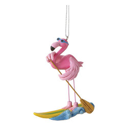 Midwest CBK - Paddle Board Flamingo Christmas Tree Ornament - Summer Surf Ocean Holiday Gift - Paddle Board Flamingo Christmas Ornament