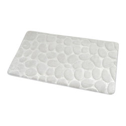 Microfiber Stone Shape Bath Rug White - This Stone shaped microfiber bath rug is 100% polyester. Ultra-soft touch and sophisticated in any bathroom with its pebble design, it brings a spa-like feel to your bathroom. This bath rug prevents slips with its PVC non-skid backing. Machine wash cold and no dryer. Width 17-Inch and length 29.5-Inch. Indoor use only. Color white. Add underfoot softness and a perfect finishing touch to your bathroom decor with this trendy microfiber bath rug! Complete your decoration with other products of the same collection. Imported.