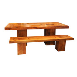 "Montana Block Base Dining Table 82"" - This picnic table style table with matching bench seats bring a rustic feel to your indoor dining area. Thick slabs of Acacia hardwood mounted on solid blocks make for a rock-solid table with a contemporary twist."