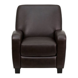 Flash Furniture - Brown Leather Push Back Recliner - This push back motion recliner offers you the best in comfort to relax while watching a movie, reading a good book or doing nothing! Recline in your favorite position by simply pushing back. The small frame of this recliner will also make it an excellent choice as an accent chair in the home or office. The durable leather upholstery allows for easy cleaning and regular care.