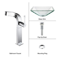 Kraus - Kraus C-GVS-901-19mm-15100CH Clear Aquamarine Glass Vessel Sink & Typhon Faucet - Add a touch of elegance to your bathroom with a glass sink combo from Kraus